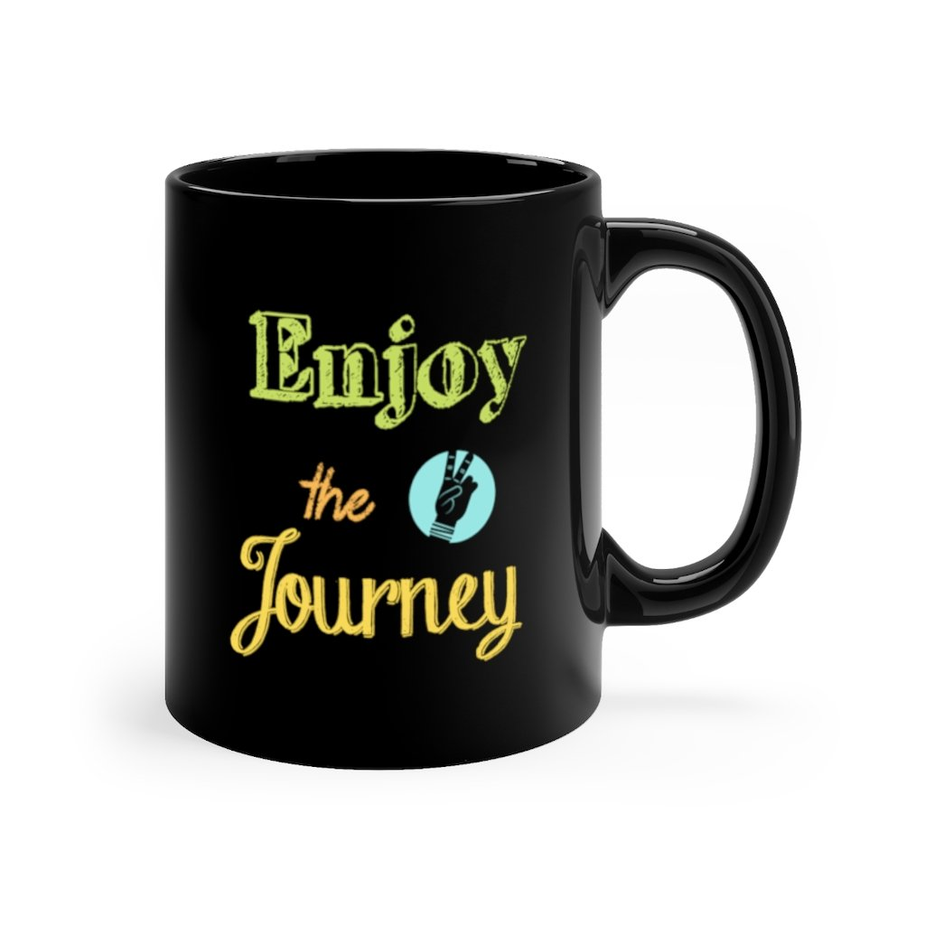 Enjoy the Journey Chalk Design Black mug