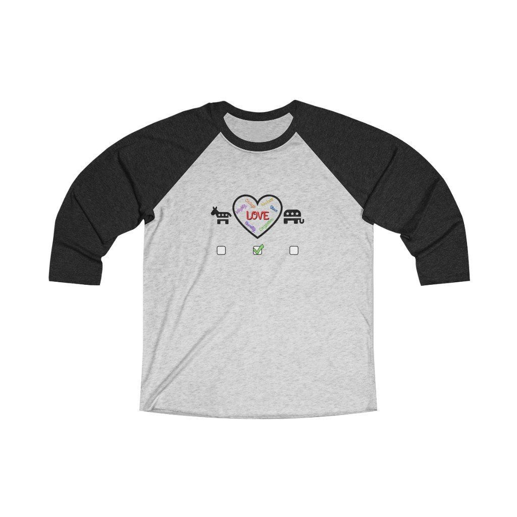 Choose Love Unisex Tri-Blend 3/4 Raglan Tee