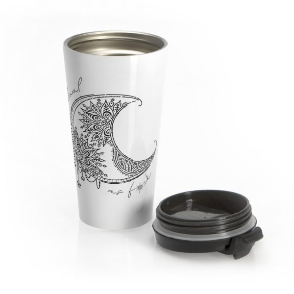 Spiritual as fuck stainless steel travel mug with screw on lid